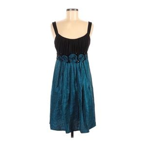 Muse Teal Black Beaded Rosette Cocktail Dress 8